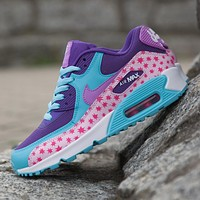 Sale Nike Air Max WMNS 90 Premium Mesh Gs Prism Pink Running Shoes Sport Shoes 724875-600