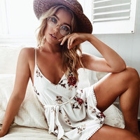 V-neck Sexy Spaghetti Strap Women's Fashion One Piece Dress [10733539919]