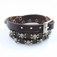 Fashion Punk  Rivets Adjustable Leather Wristband Cuff Bracelet - Great for Men, Women, Teens, Boys, Girls 2717s