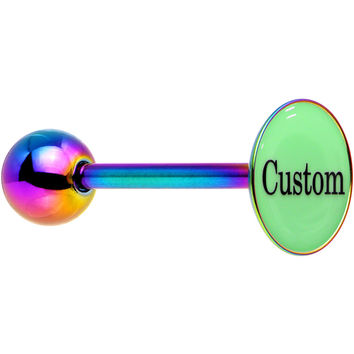 Custom Glow in the Dark Rainbow Anodized Barbell Tongue Ring
