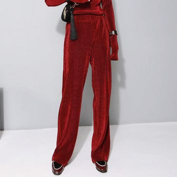 New  Velvet Wide Leg Pants  Bell Bottom Trousers   Pantalon Femme Taille Haute Pants Women 7PT008