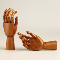 Small Moving Wooden Hands, Set of 2 | World Market