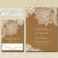 Lace & Kraft Wedding Invitation RSVP Response Card 2 Piece Suite Shabby Chic Vintage Rustic White Brown Modern DIY or Printed - Siri Style