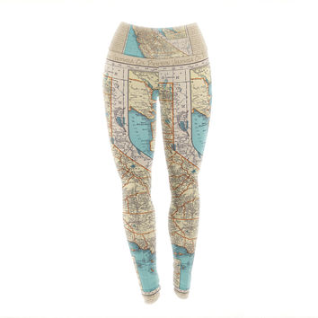 "Catherine Holcombe ""So Cal Surf Map"" Beige Blue Yoga Leggings"