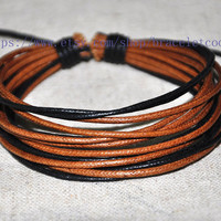 Wax Cords Ropes Woven Men Leather Jewelry Bangle Cuff Bracelet Women Leather Bracelet  CP58