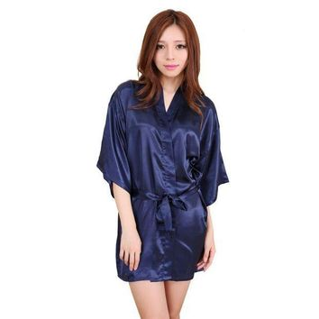 CREYCI7 Silk Satin Wedding Bride Robe Floral Bathrobe Short Kimono Robe Night Robe Bath Robe Fashion Dressing Gown for Women S72