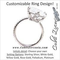Cubic Zirconia Engagement Ring- The ________ Naming Rights 1226 (1.91 TCW Cushion Halo-Style with Pave Band and Initials Detail)