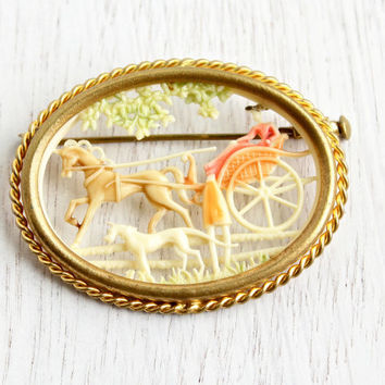 Antique Depose France Celluloid Carriage Brooch - Vintage Horse, Dog, & Woman Early Plastic French Ivory Jewelry Pin / Country Scene