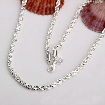 2mm Rope chain necklace, 925 Stamped Sterling Silver Chain Necklaces