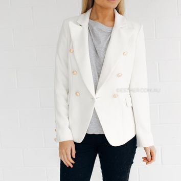ennis gold button jacket - ivory
