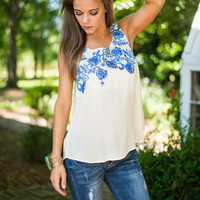 Garden Grove Tank, Blue-Cream