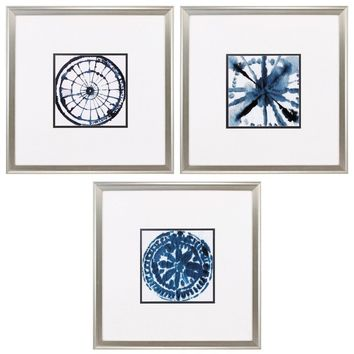 Indigo Dye 3 Piece Framed Graphic Art Set