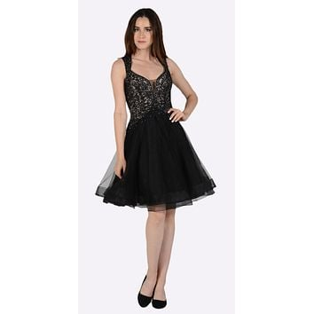 Embroidered Top Knee Length Homecoming Dress Black