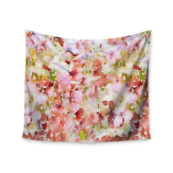 """Carolyn Greifeld """"Floral Fantasy"""" Pink Abstract Wall Tapestry"""