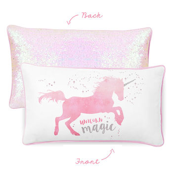 MAGICAL Unicorn Pillow w/ Reversible Iridescent & Silver Sequins