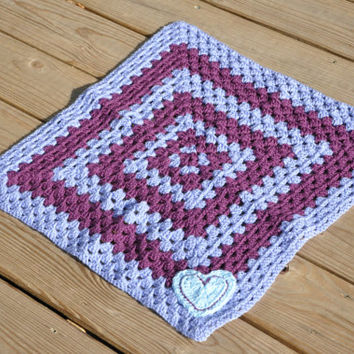 """Purple and Blue Heart Baby Blanket - Security Blanket 22"""" x 22"""""""