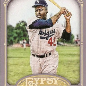 Jackie Robinson 2012 Topps Gypsy Queen Baseball Series Mint Card #18 Picturing This Hall of Famer in His White Brooklyn Dodgers Uniform. Shipped in a Protective Screwdown Holder!