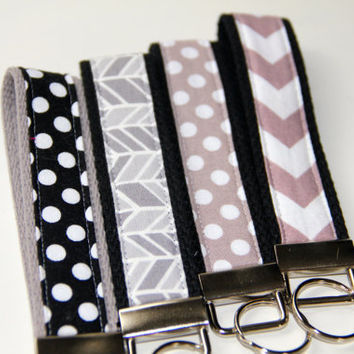 Black Grey White Key Fob Wristlet - Chevron Key Chain - Polka Dot Key Chain