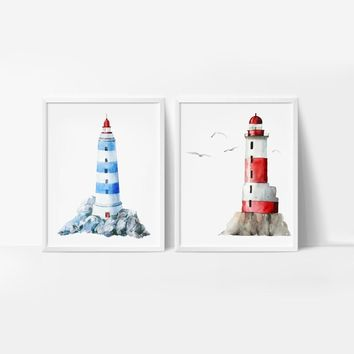 Watercolor Lighthouse Print And Poster , Cartoon Hand Drawn Lighthouse Wall Art Canvas Painting Pictures Kids Room Wall Decor