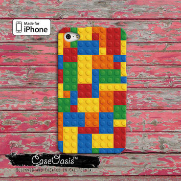 Lego Inspired Brick Pattern Custom iPhone 4 and 4s Case and Custom iPhone 5 and 5s and 5c Case