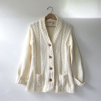 Vintage Button Up Cardigan. Preppy Oversized Sweater Cardigan. Wooden buttons & pockets