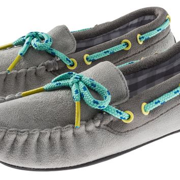 Grey with Plaid Lining Moccasin Shoe