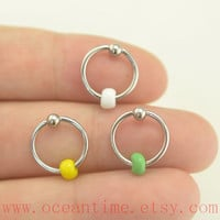 CBR Captive Bead Ring,Tragus Earring,colorful beads Cartilage Hoop,simple Earring , Helix Cartilage jewelry,oceantime