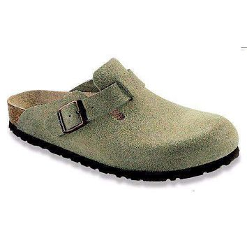 Men's Boston Clog in Taupe Suede with Soft Footbed by Birkenstock