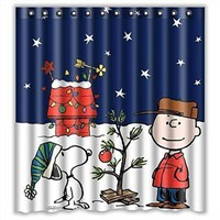 Custom Merry Christmas Fabric Waterproof Bathroom Shower Curtain