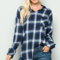 Navy Plaid Oversized Tunic Top
