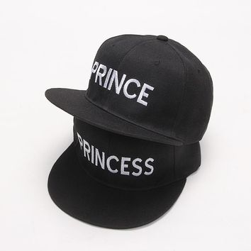Trendy Winter Jacket 2017 new PRINCE PRINCESS Embroidery men women Snapback Hat Couple Baseball Cap Gifts For friendFashion Hip-hop Caps AT_92_12