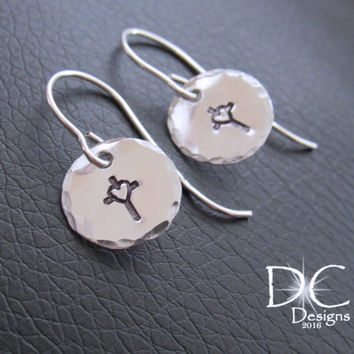 Silver Cross Earrings - Cross Jewelry - Religious Jewelry - Christian Jewelry - Handmade Earrings - Sterling Silver Earrings - Hand Stamped