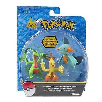 TOMY Pokemon Marshtomp Combusken Grovyle 3-Pack Action Pose Figure Set Authentic