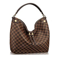 LV Women Shopping Leather Tote Handbag Shoulder Bag Authentic Louis Vuitton Damier Duo