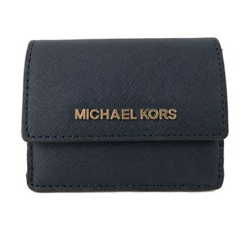 Michael Kors Jet Travel Leather Credit Card Case ID Key Holder Wallet in Navy