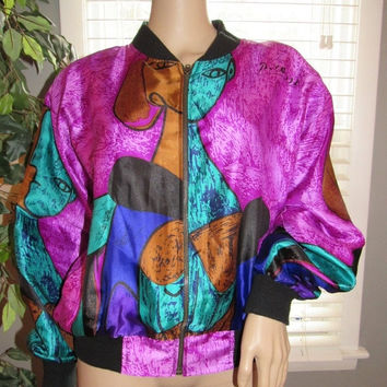 ON SALE 80s Silky Bomber Jacket / Abstract Jacket / Picasso Print Silky Jacket / Silkworms Fashions / 80s Fashion / Abstract Print Wearable
