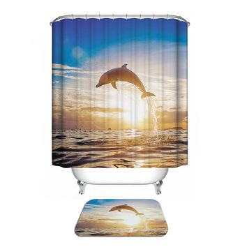 Dolphin Scene Custom Fabric Waterproof Bathroom Shower Curtain