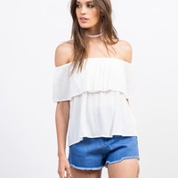 Gauze Off-the-Shoulder Top