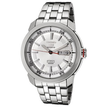 Seiko SNZH61 Men's 5 Sports Silver Dial Stainless Steel Bracelet Automatic Watch