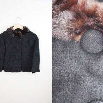 The Parisian - Vintage 1050s Black Boucle Mink Fur Trim Collar Cropped Coat