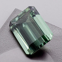 Green Amethyst: 23.42ct Emerald Shape Gemstone, Faceted Mint Green Prasiolite Vermarine Lime Citrine Gem Loose Precious Quartz Mineral 20846