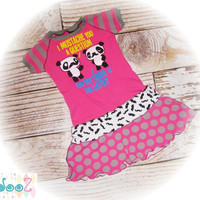 "Girls size 6/7  Upcycled New I Mustache Ask you a Question Pandas T-Shirt Dress   13"" x 26"""