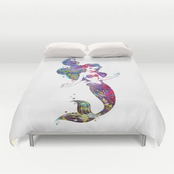 Little Mermaid Watercolor Duvet Cover by Bitter Moon