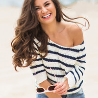 Tammy Navy and Ivory Striped Sweater