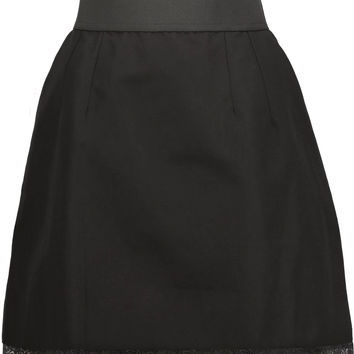 Lace-trimmed cotton and linen-blend mini skirt | Dolce & Gabbana | US | THE OUTNET