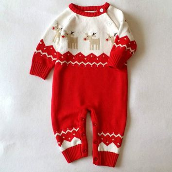 2017 Baby Rompers Winter Thick Knitted Sweater Jumpsuit Newborn Clothes Boys Girls Warm Cotton New Born Baby Clothes