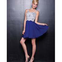 Royal Blue Chiffon & White Sequin Short Dress