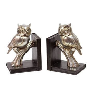 Gold Resin Owl Bookends (Set of 2)