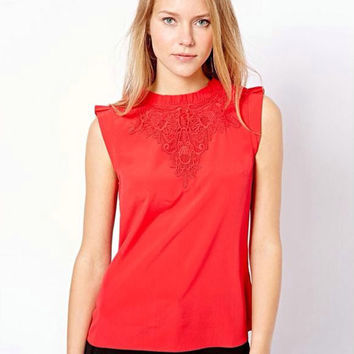 Cutout Lace Sleeveless Zipper Back Shirt