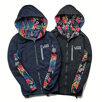 VANS Fashion New Floral Leaf Print And Back Letter Print Hooded Long Sleeve Windbreaker Coat